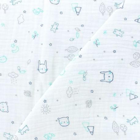 Tissu double gaze de coton Friends  - Blanc/vert x 10cm