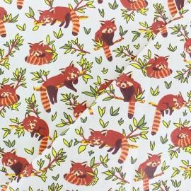 Tissu coton cretonne Panda Roux - écru x 10cm