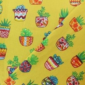 Tissu coton cretonne Succulentes - jaune x 10cm