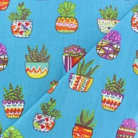 Tissu coton cretonne Succulentes - bleu x 10cm