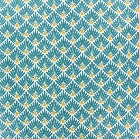 Coated cretonne cotton Fabric Ecailles - Duck green x 10cm