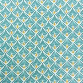 Tissu coton cretonne enduit Ecailles - vert canard x 10cm