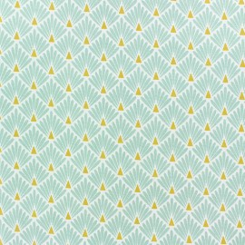 Coated cretonne cotton Fabric Ecailles - lagoon x 10cm