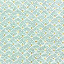 Tissu coton cretonne enduit Ecailles - lagon x 10cm