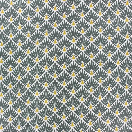 Coated cretonne cotton Fabric Ecailles - khaki green x 10cm