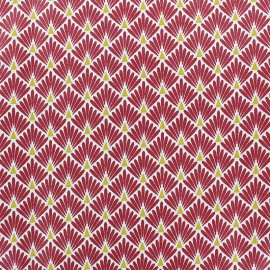 Coated cretonne cotton Fabric Ecailles - Saffron x 10cm