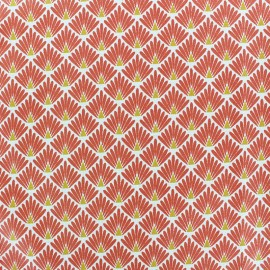 Coated cretonne cotton Fabric Ecailles - Terracotta x 10cm