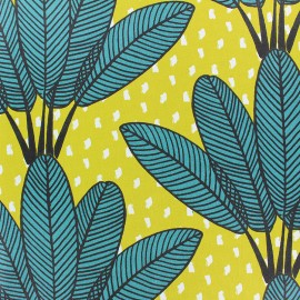 Matte Coated Cotton Fabric - green Mabibi x 20 cm