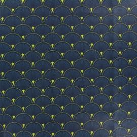 Matte Coated Cotton Fabric - Green Doucet x 10 cm