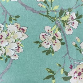 Tissu coton cretonne enduit Ecailles - vert kaki x 10cm