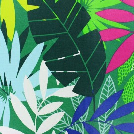 Matte Coated Cotton Fabric - green Le Morne x 20 cm