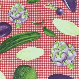 Tissu coton enduit Légumes de saison - rouge x 20 cm