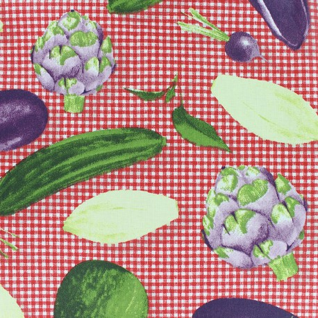 Matte Coated Cotton Fabric - Red Seasonal vegetables x 20 cm