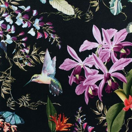 Short velvet fabric - Black Sola x10cm