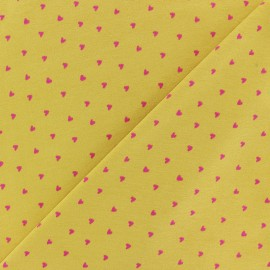 Poppy Jersey fabric - Yellow Petit Coeur x 10cm