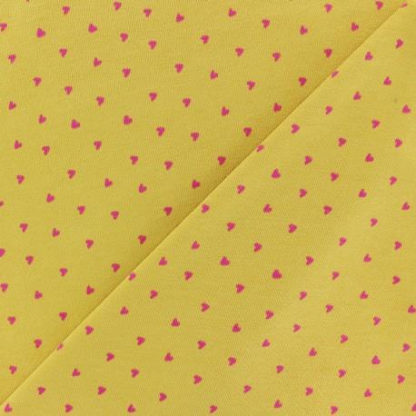 Tissu jersey Poppy Petit Coeur - jaune x 10cm