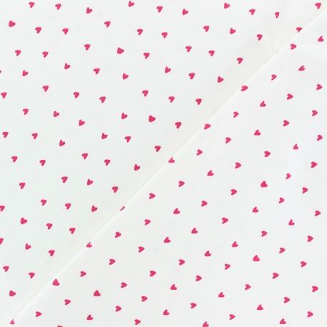 Tissu jersey Poppy Petit Coeur - blanc x 10cm