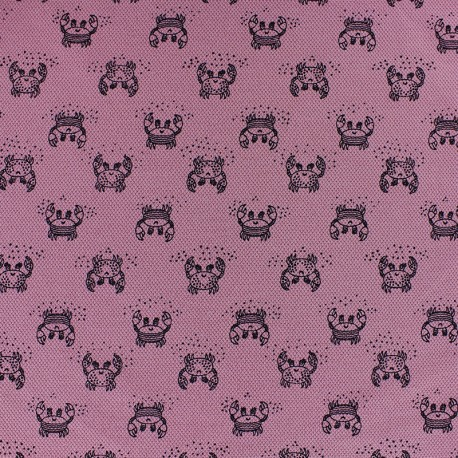 Special Polo cotton fabric - old pink Crab x 10cm