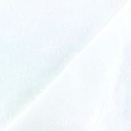 Embroidery cotton fabric - off-white Botanica x 10cm