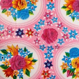 Oilcloth fabric - pink Rosario x 25cm