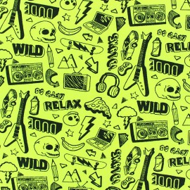 Tissu jersey Poppy Neon Rock - jaune fluo x 10cm