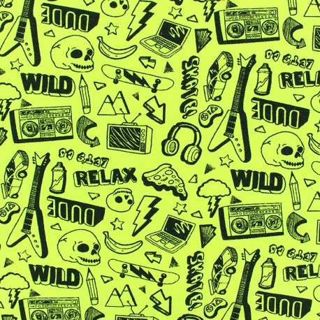 Poppy Jersey fabric - yellow Neon Rock x 10cm
