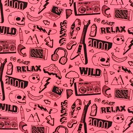 Poppy Jersey fabric - pink Neon Rock x 10cm