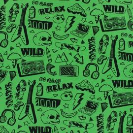 Tissu jersey Poppy Neon Rock - vert fluo x 10cm