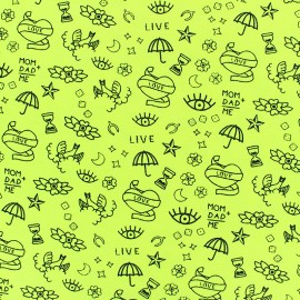 Poppy Jersey fabric - yellow Neon tattoo x 10cm