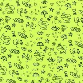 Tissu jersey Poppy Neon tattoo - jaune fluo x 10cm