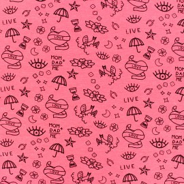 Poppy Jersey fabric- pink Neon tattoo x 10cm