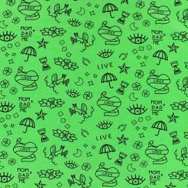 Poppy Jersey fabric- green Neon tattoo x 10cm