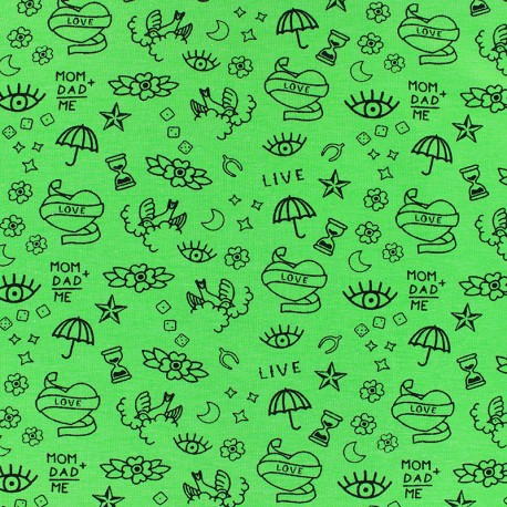 Poppy Jersey fabric- green Neon tattoo x 10cm