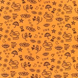 ♥ Coupon 100 cm X 150 cm ♥ Tissu jersey Poppy Neon tattoo - orange fluo