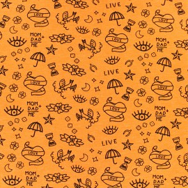Poppy Jersey fabric - orange Neon tattoo x 10cm
