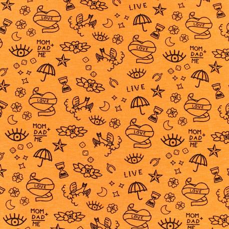 Poppy Jersey fabric - orange Neon tattoo x 10cm