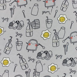 Poppy Jersey fabric - Grey English Breakfast x 10cm