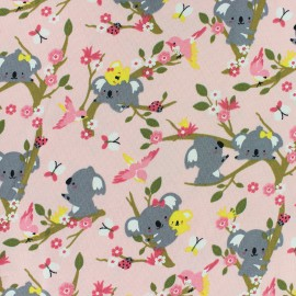 Poppy Jersey fabric - Pink Koala Dream x 10cm