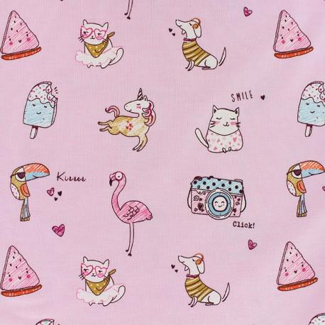 Poppy Jersey fabric - Pink Jolly holidays x 10cm