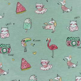 Poppy Jersey fabric - Green Jolly holidays x 10cm