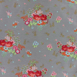Tissu jersey Poppy Fields of flowers - gris x 10cm