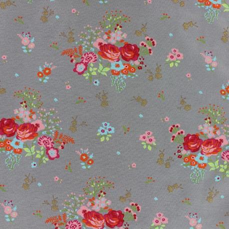 Poppy Jersey fabric - Grey Koala Dream x 10cm