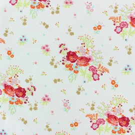 Poppy Jersey fabric - Grey Fields of flowers x 10cm