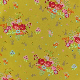 Poppy Jersey fabric - yellow Fields of flowers x 10cm