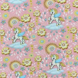 Tissu jersey Petit Pégase - rose x 10cm