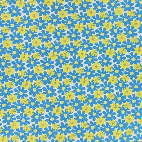 Cotton fabric - Blue Florida x 10cm