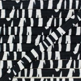 9 mm Flat Elastic - Zebra x 1m