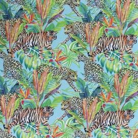 Tissu coton Tropi-tigre - bleu x 10cm
