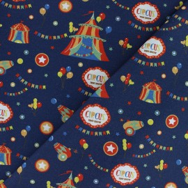 Organic Cotton fabric - blue Traveling Phineas Circus x 10cm