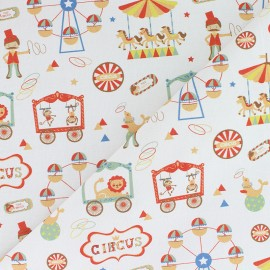 Organic Cotton fabric - white Fairy Phineas Circus x 10cm